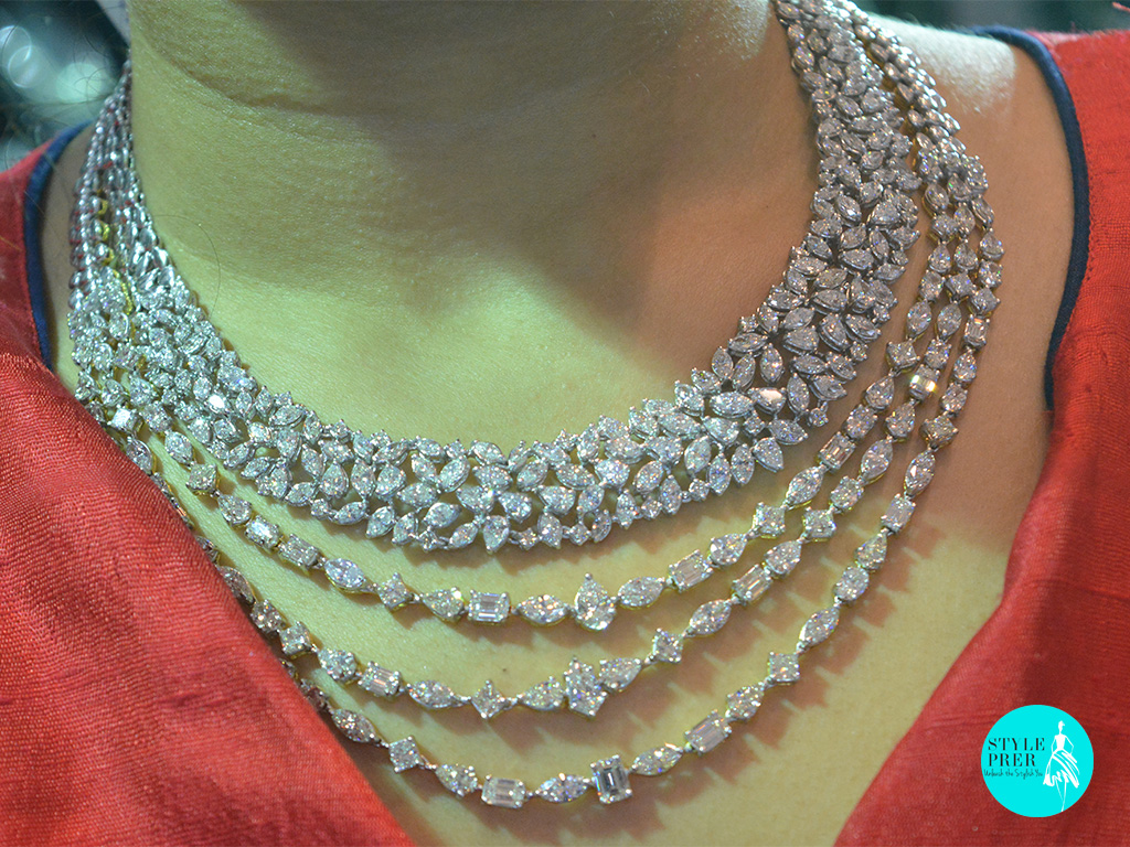 Fancy Diamond Multi Layer Necklace Set- Hema S Kothari