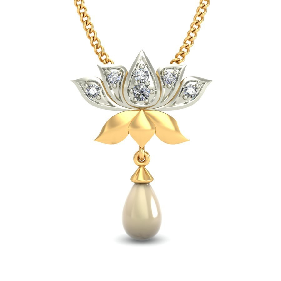 Lakshmi Lotus Diamond Pendant. PC-Jewelsnext