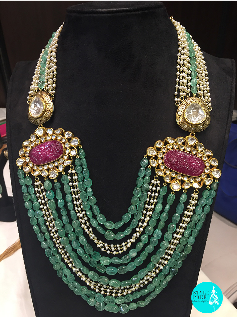 Combination Of Handcarved African Ruby, Russian Emerald Beads, Polki, Pearl Set In A Multi-layered Necklace-Ghatiwala Jewellers.