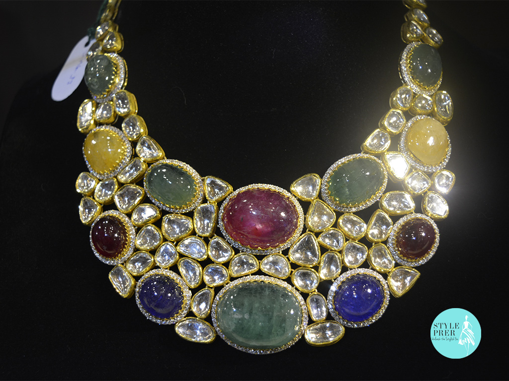 Multi-Gemstone Necklace Set With Diamonds In Gold-Rambhajo Jewellers.