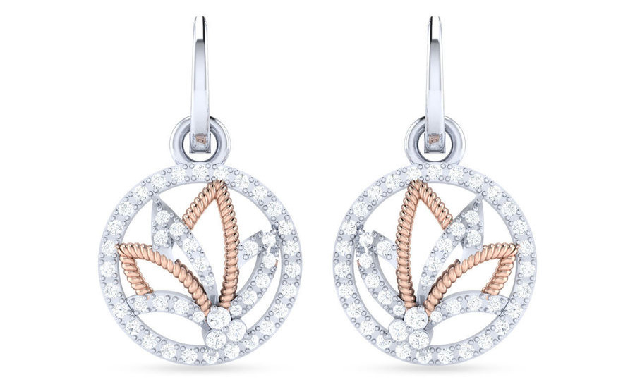 Chinese Fan Dual Tone Diamond & Gold Earrings- Velvetcase.Com
