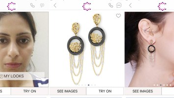 Ruffle Glint Earrings From The Caratlane Virtual Mobile App.