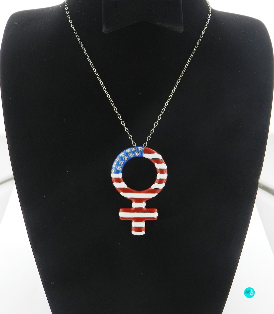 Platinum Pendant Cum Brooch, Diamonds Set Along With Red, White And Blue Enamel.