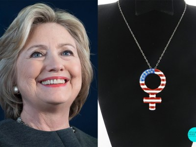 (L-R) Hillary Clinton And Pendant Designed By Laksh Pahuja
