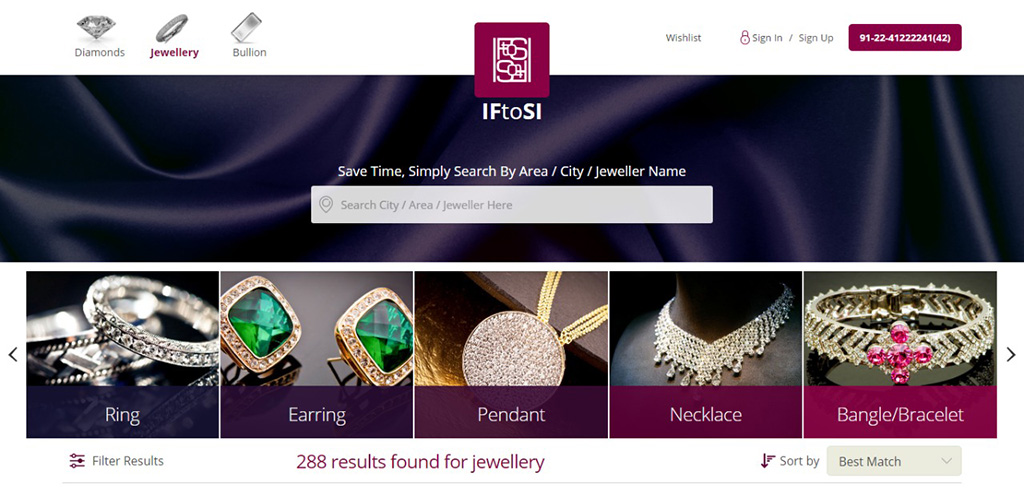 Choose from a range of Ring, Earring, Pendant, Necklace, Mangalsutra, Nosepin etc. PC-IFtoSI