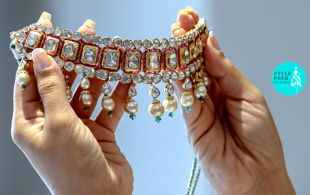 Jadav Necklace (Uncut Diamonds) With Pearl And Gemstones From Tsifira's Mohini Collection