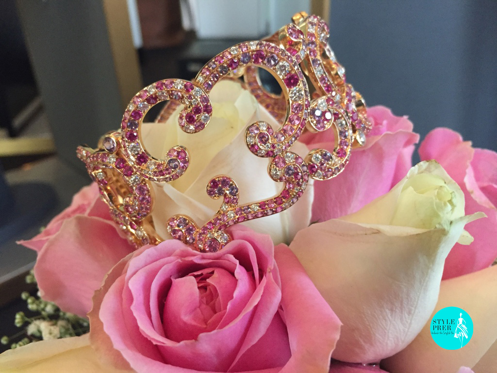 Fabergé Rococo Lace Sapphire and Diamond Rose Gold Bangle
