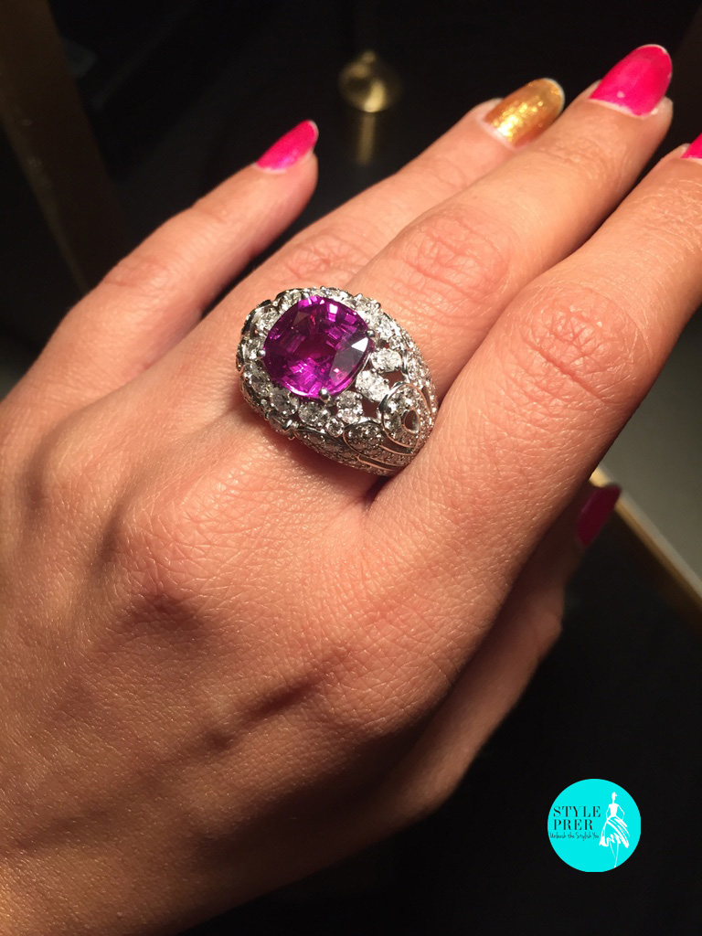 Faberge Three Colors Of Love Ring Centered With Pink Sapphire
