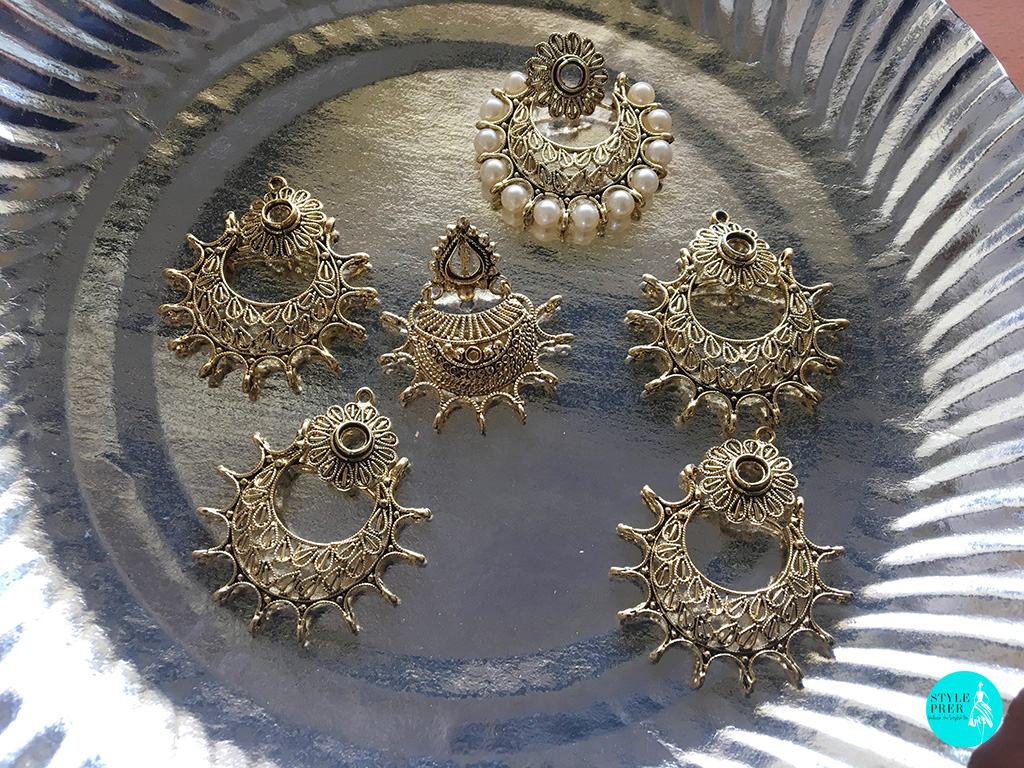 Unfinished Jewelry! Earrings Yet To Be Studded With Stones And Pearls.