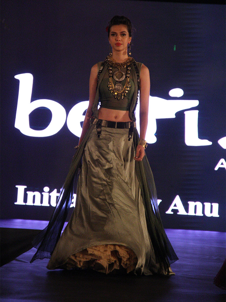 Anita Kumar adorning handmade bold Silver layered jewelry designed by Sunaina Jain of Adore Jewels