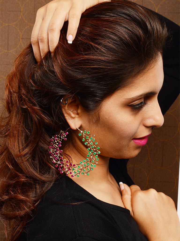 StylePrer Pick - Ruby And Emerald Encrusted Earring Inspired From Floral Motifs From Orra Fine Jewellery.
