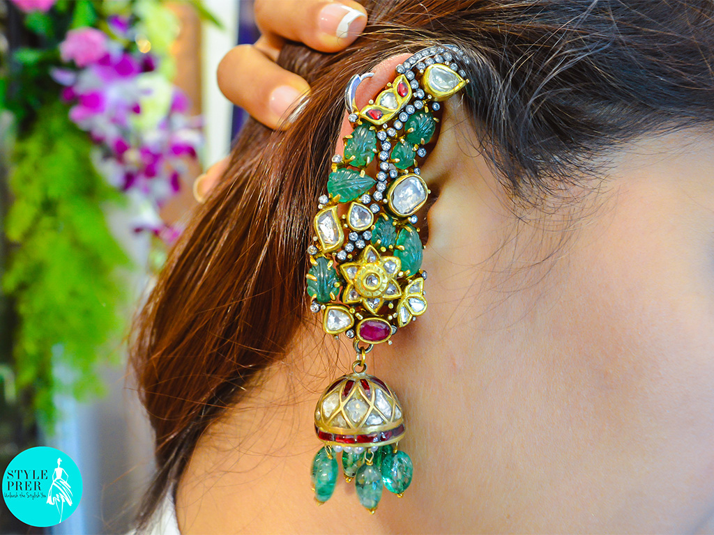 Polki Ear Cuff With Carved Emeralds And Rubies By Golecha