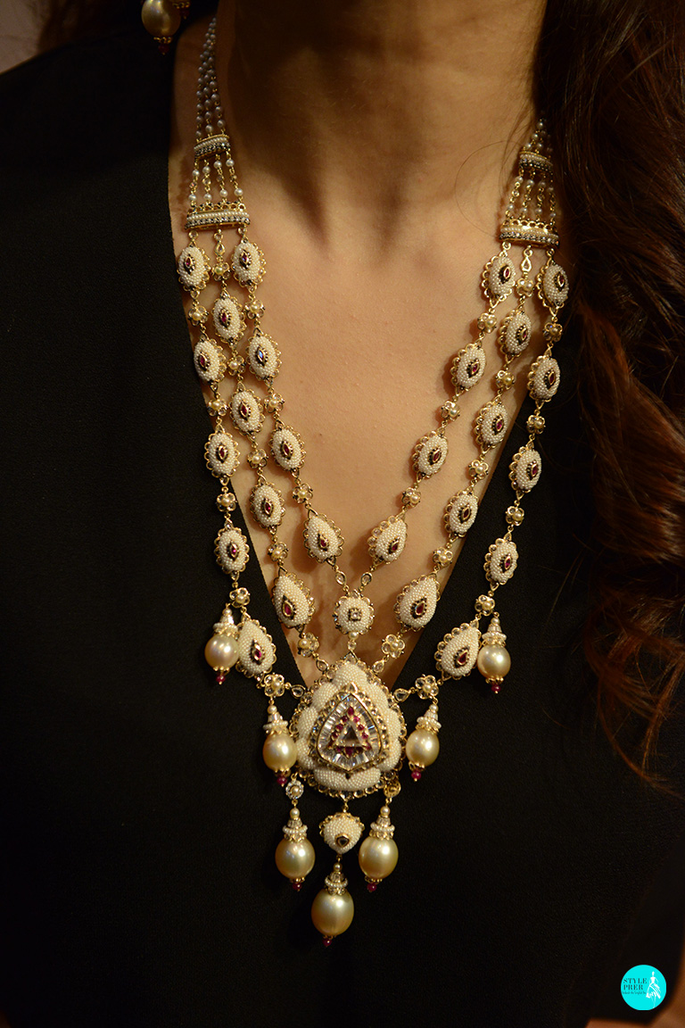 Keshi Pearls Woven In A Polki Necklace Set By Moksh
