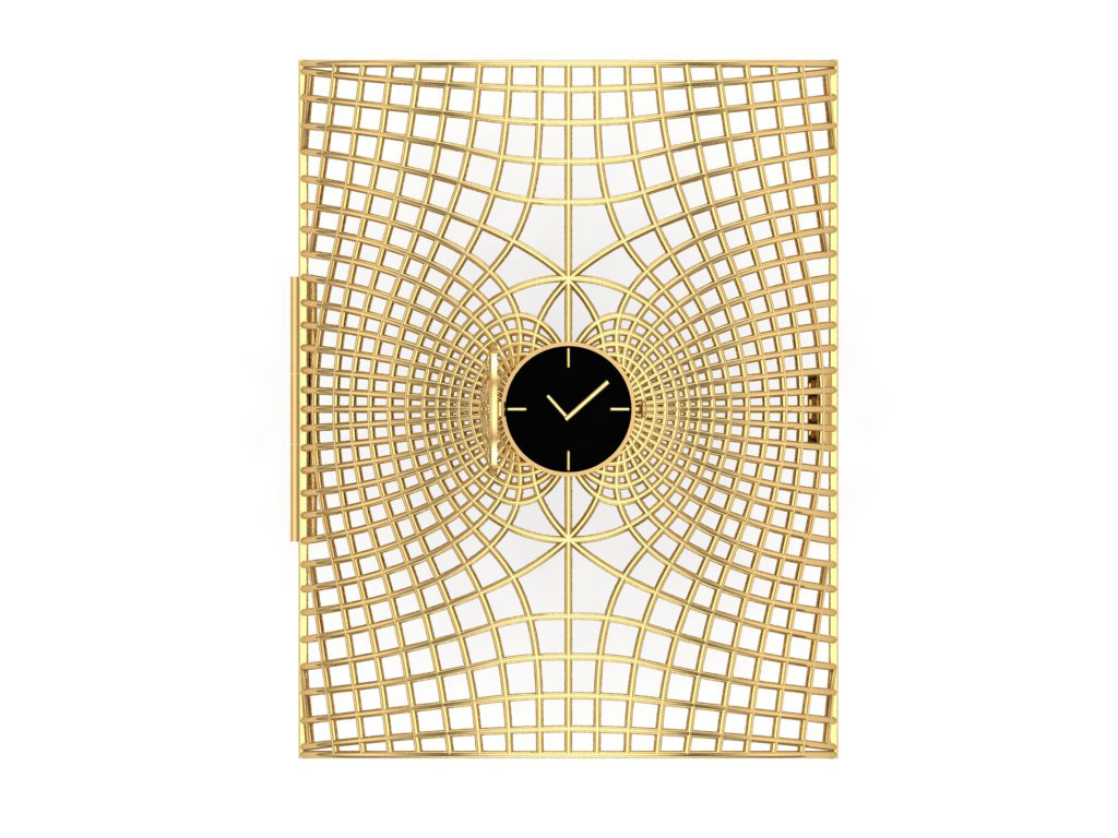 Gold Cuff With Free Flowing Lines Centered With A Watch