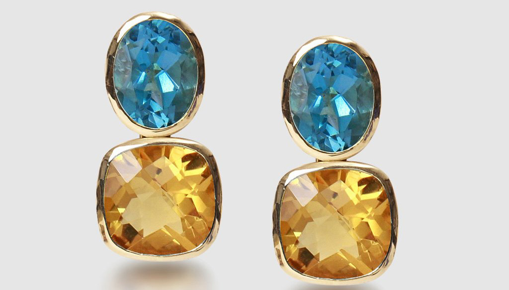 Blue Topaz And Citrine Drop Earrings In Yellow Gold - Gee Woods Jewellery