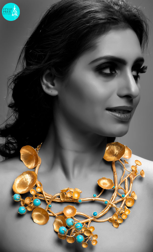 Inspired From Mushroom And Flowers Is A Bold Gold Textured Dramatic Necklace With Turquoise By Pallavi Foley