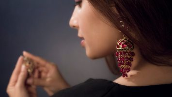A Well Designed And Hand Crafted Pair Of Gemset Ruby Jhumki Earrings