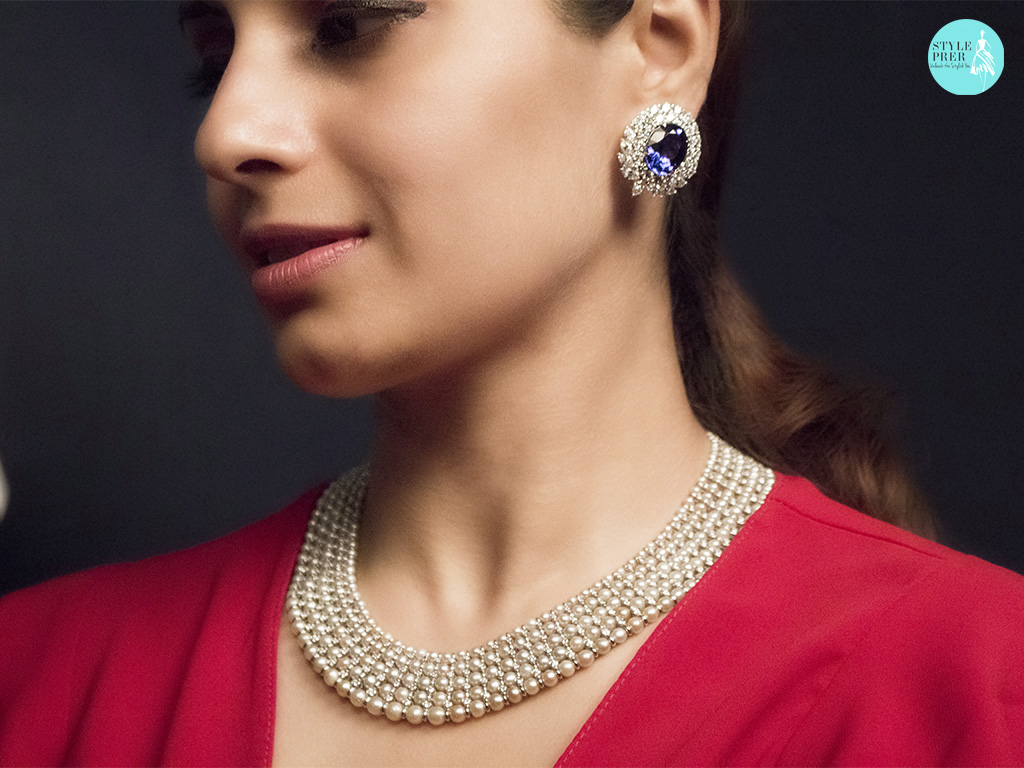 Pearl Woven Necklace Stationed With Diamonds Along With Oval Tanzanite And Fancy Shaped Diamond EarStuds