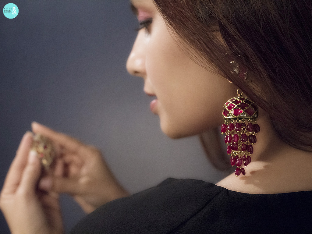 Gemset Ruby Jhumkas In Gold By Saffronart
