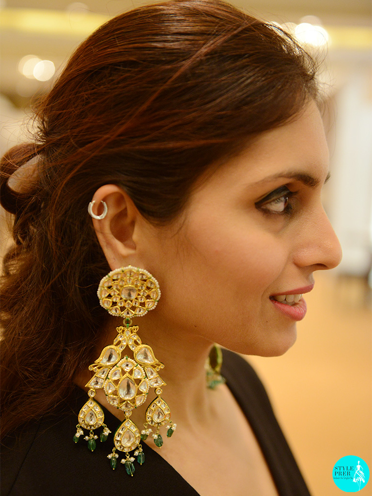 Polki Jhumkas With Emeralds By Khanna Jewellers