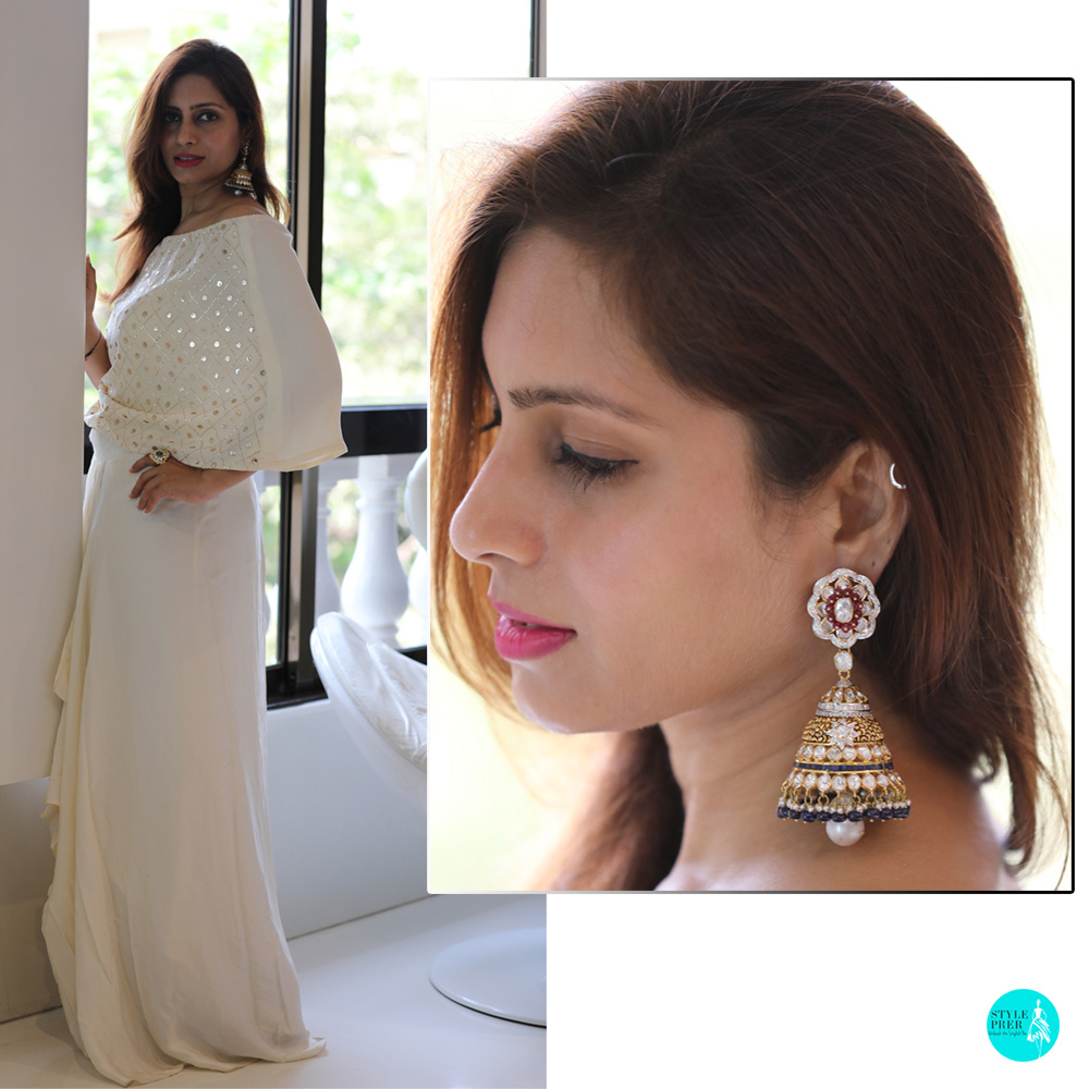Cocktail / Occasion Wear - Polki Jhumkas Tsifira Rare Jewels. Ensemble - Rachita Shah