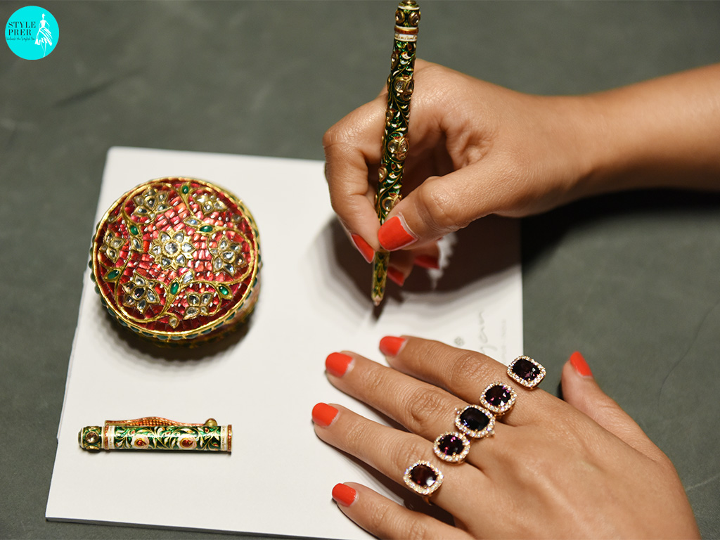 Ruby, Emerald, Enamel Jewellery Box; Kundan Enamel Pen, Pink And Blue Sapphire Four Finger Ring By Gyan Jewels
