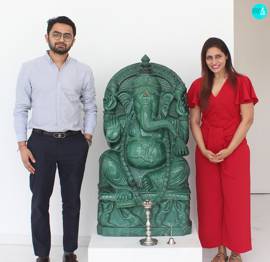 Prernaa Makhariaa At The Entrance Of Gyan Museum With Mr Akhil Dhaddha. A Single Stone Jade Ganpati Warmly Welcomes And Blesses Us That Weighs Approx 300 Kgs And Is 4ft Tall. Location Gyan Museum, Jaipur