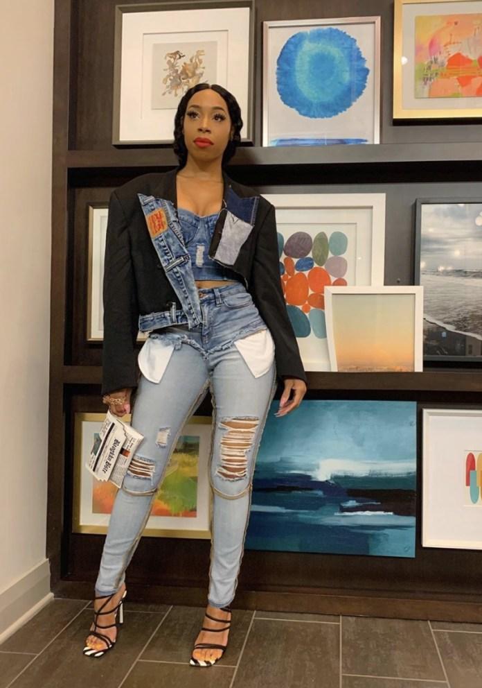 ZaMarLewis ripped jeans corset top oversized jacket denim on denim