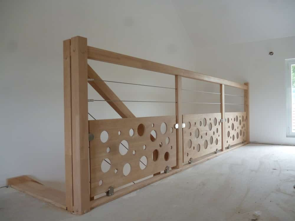 Styl'escalier : Gamme Création Garde Corps Hevea Style Perfo avec Cables
