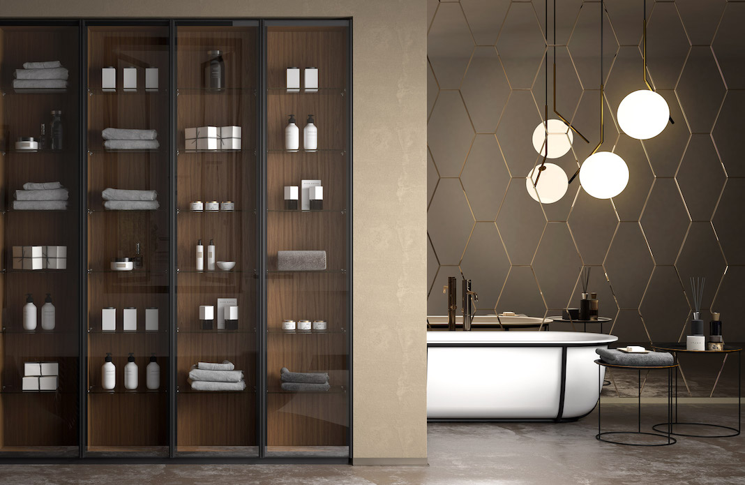 meubles de salle de bains avec vitrines