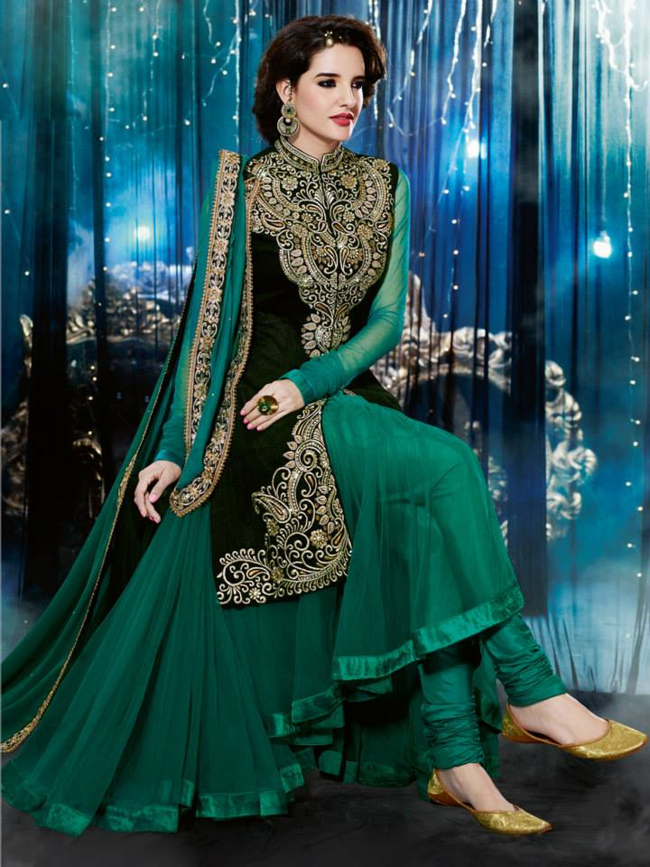 Natasha Couture Indian Party Wear Anarkali Suits 2015 For