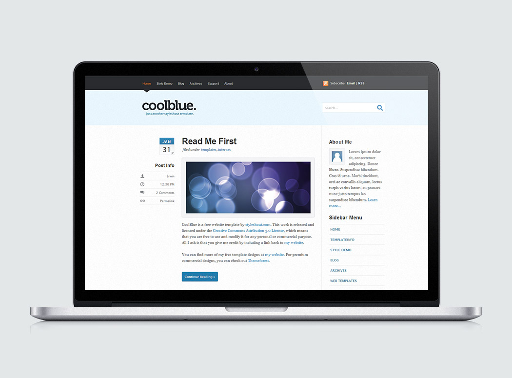 Coolblue High Quality Free Website Template By Styleshout
