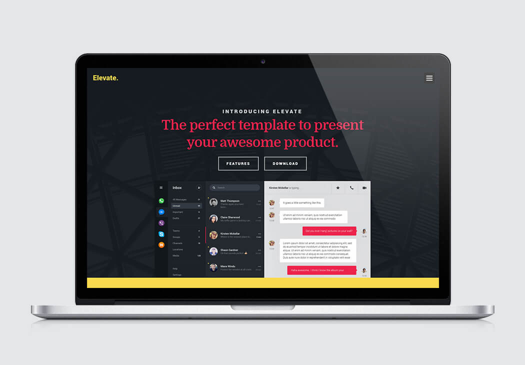 Elevate | High-Quality Free Website Template by Styleshout