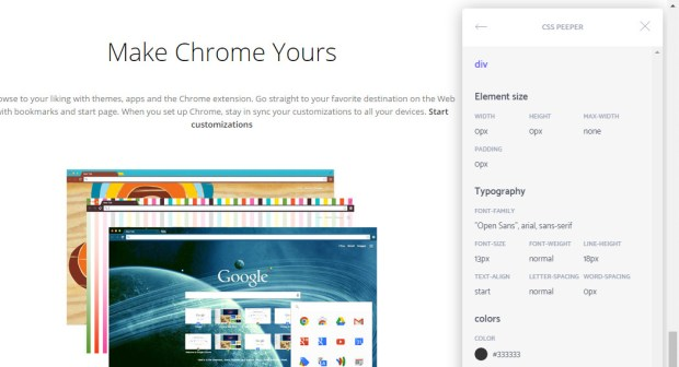 Chrome Extension for Web Designers - CSS Peeper