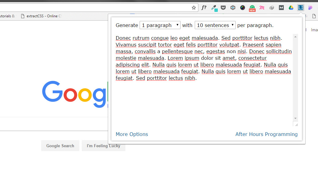 Chrome Extension for Web Designers - Lorem Ipsum Generator