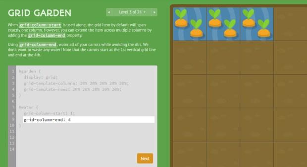 CSS learning games - Grid Garden webapp