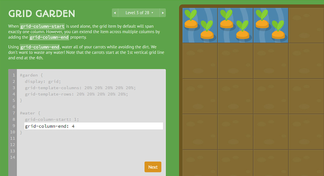 CSS learning games - Grid Garden webapp
