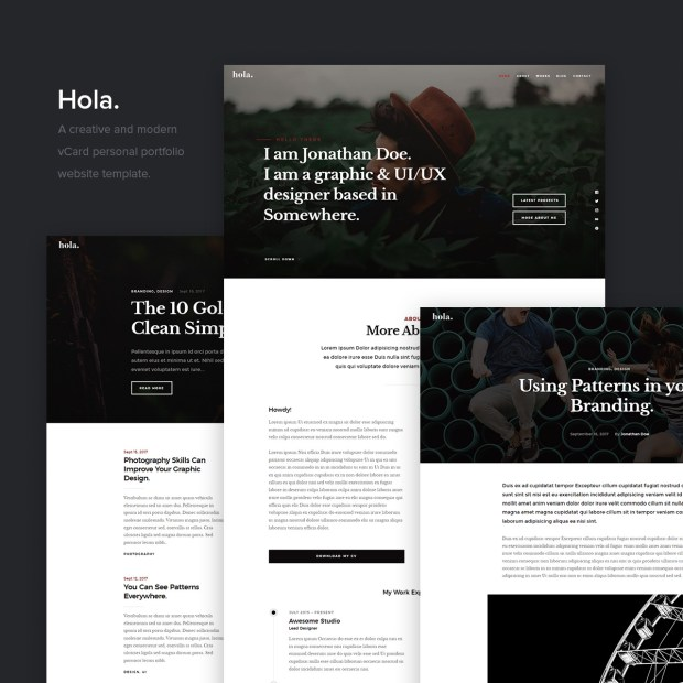 Hola free template sample pages