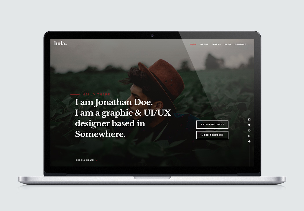 free website template hola - Resume Web Template