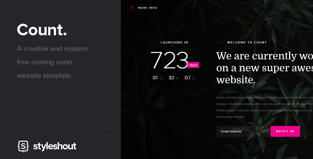 meet count a creative and modern free coming soon website template