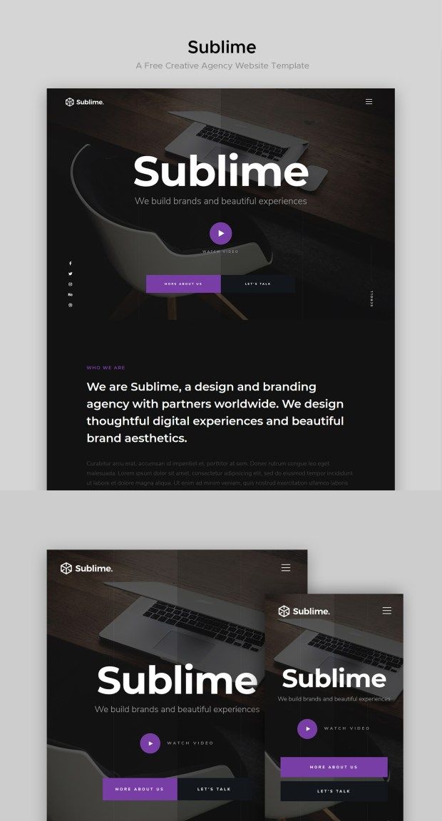 Sublime - a free website template for creative agencies