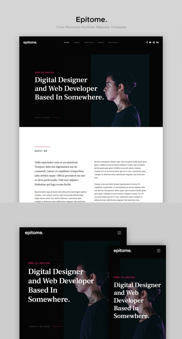 Meet Epitome, a Free Resume and Personal Portfolio Website Template