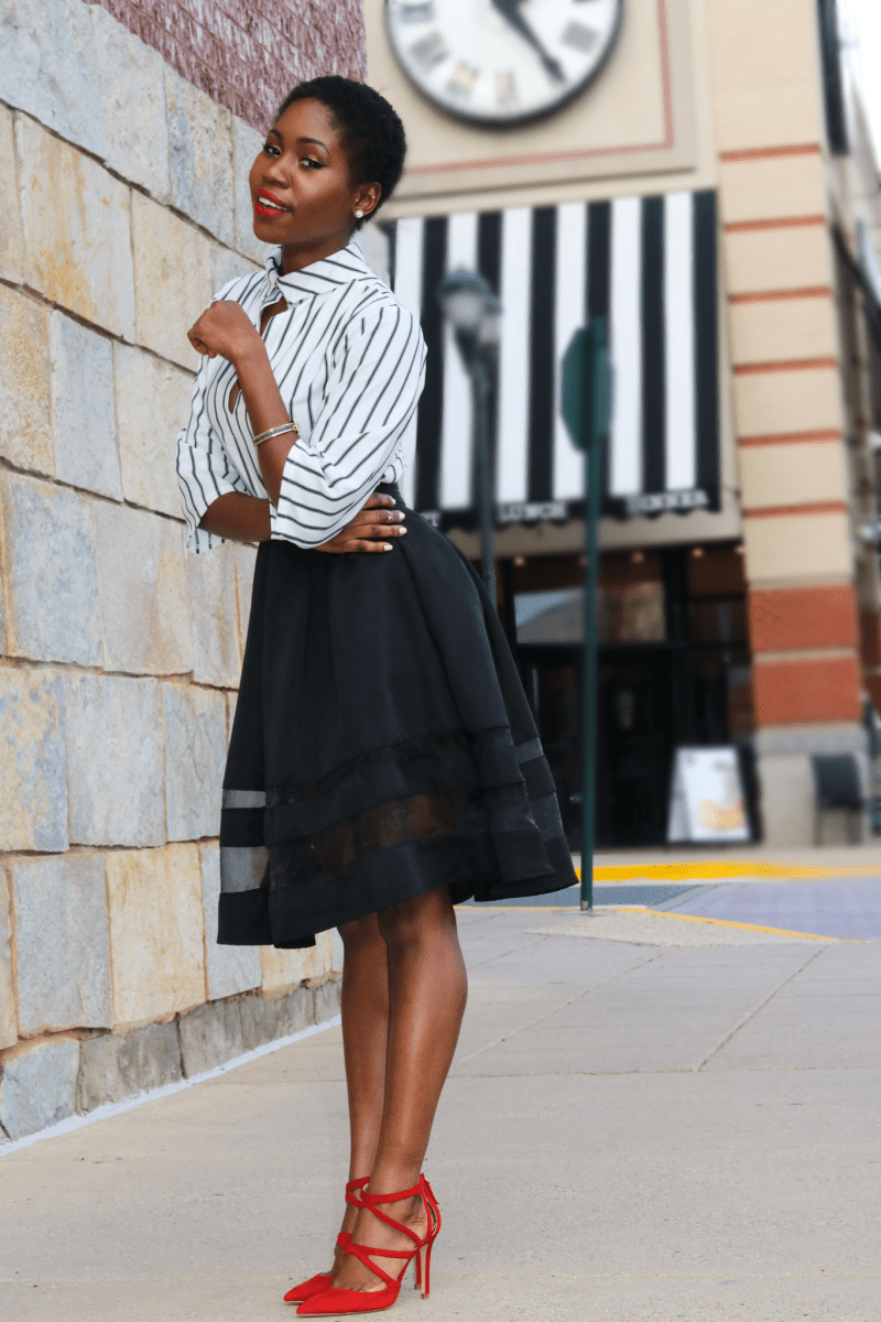 COLOR BLOCKING: HIGH WAIST ORGANZA INSET MIDI SKIRT & CROSSOVER HEELS