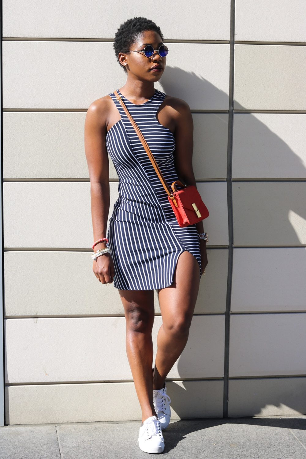 style synopsis navy & white striped dress