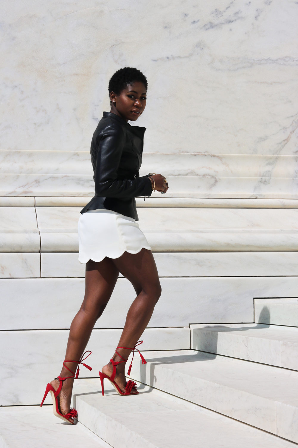 style synopsis_ leather jacket and heeled sandals