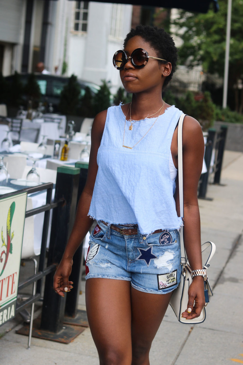 style synopsis denim patch shorts