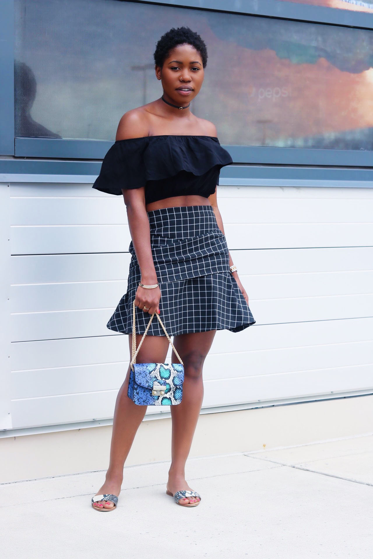 style-synopsis-off-shoulder-top-check-flared-skirt-summer-look