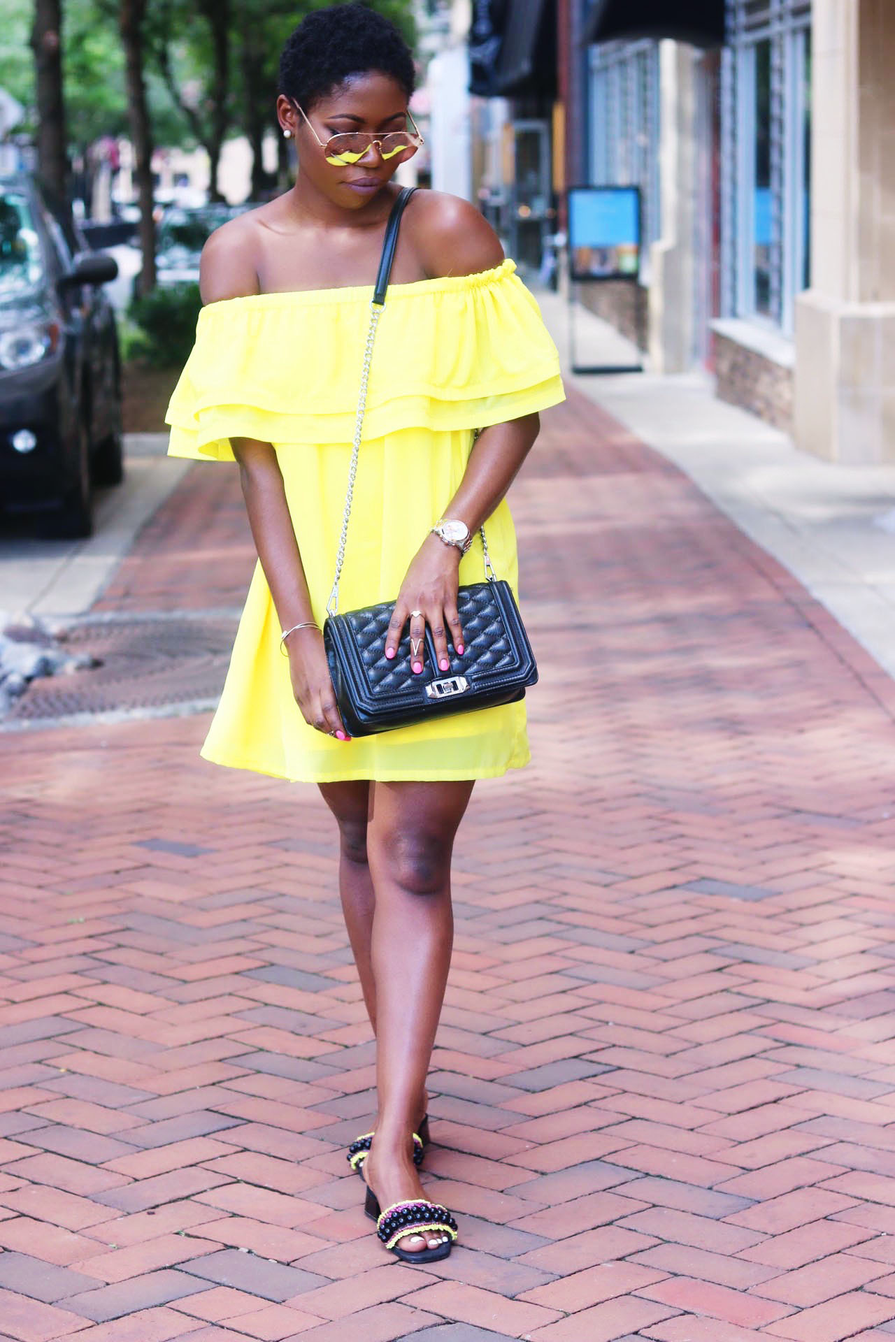 style-synopsis-yellow-off-shoulder-frill-dress