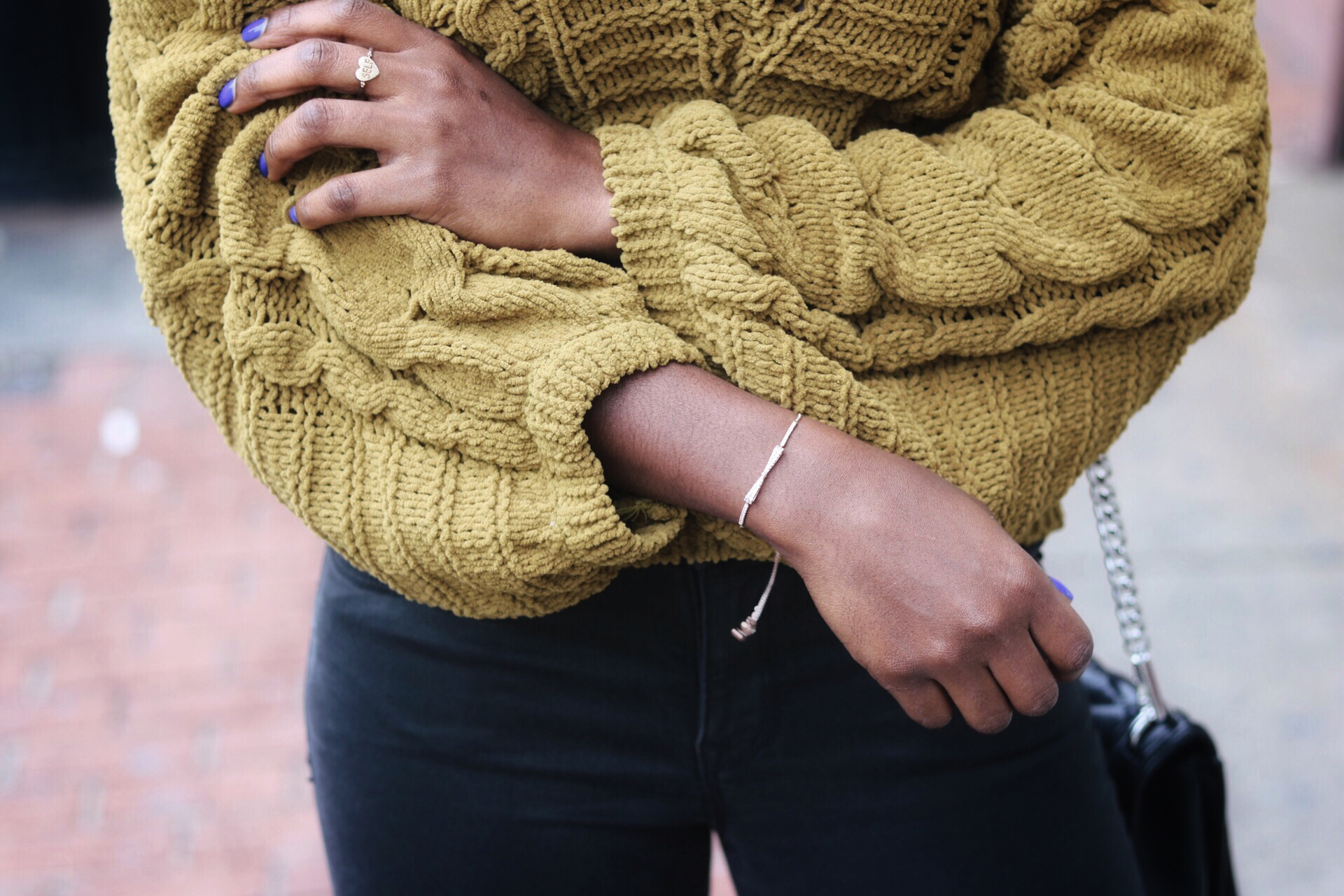 ALT= chunky yellow mustard sweater