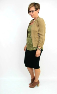 olive, camel jacket, pencil skirt 2
